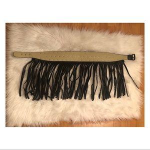 BCBGMaxAzria Accessories - BCBG MaxAzria Black Studded Fringe Belt